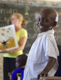 smiling kid in classroom